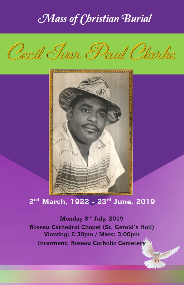 Mass of Christian Burial of Cecil Ivor Paul Clarke on 08 July 2019