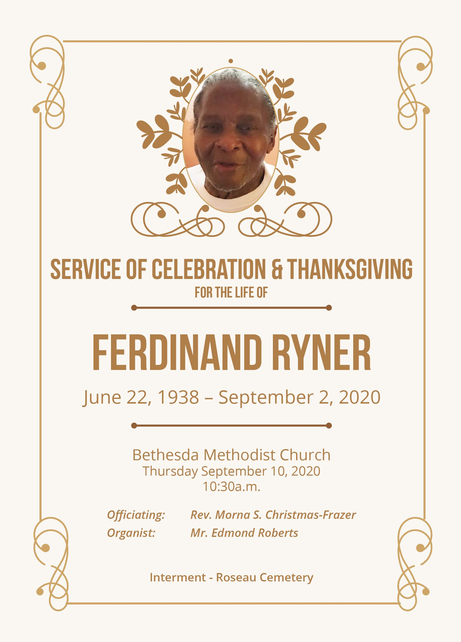 Funeral Service of Ferdinand Ryner, 10 September 2020