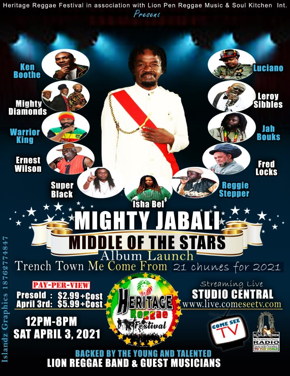 Heritage Reggae Festival presents Mighty Jabali: Middle of the Stars - April 3rd, 2021