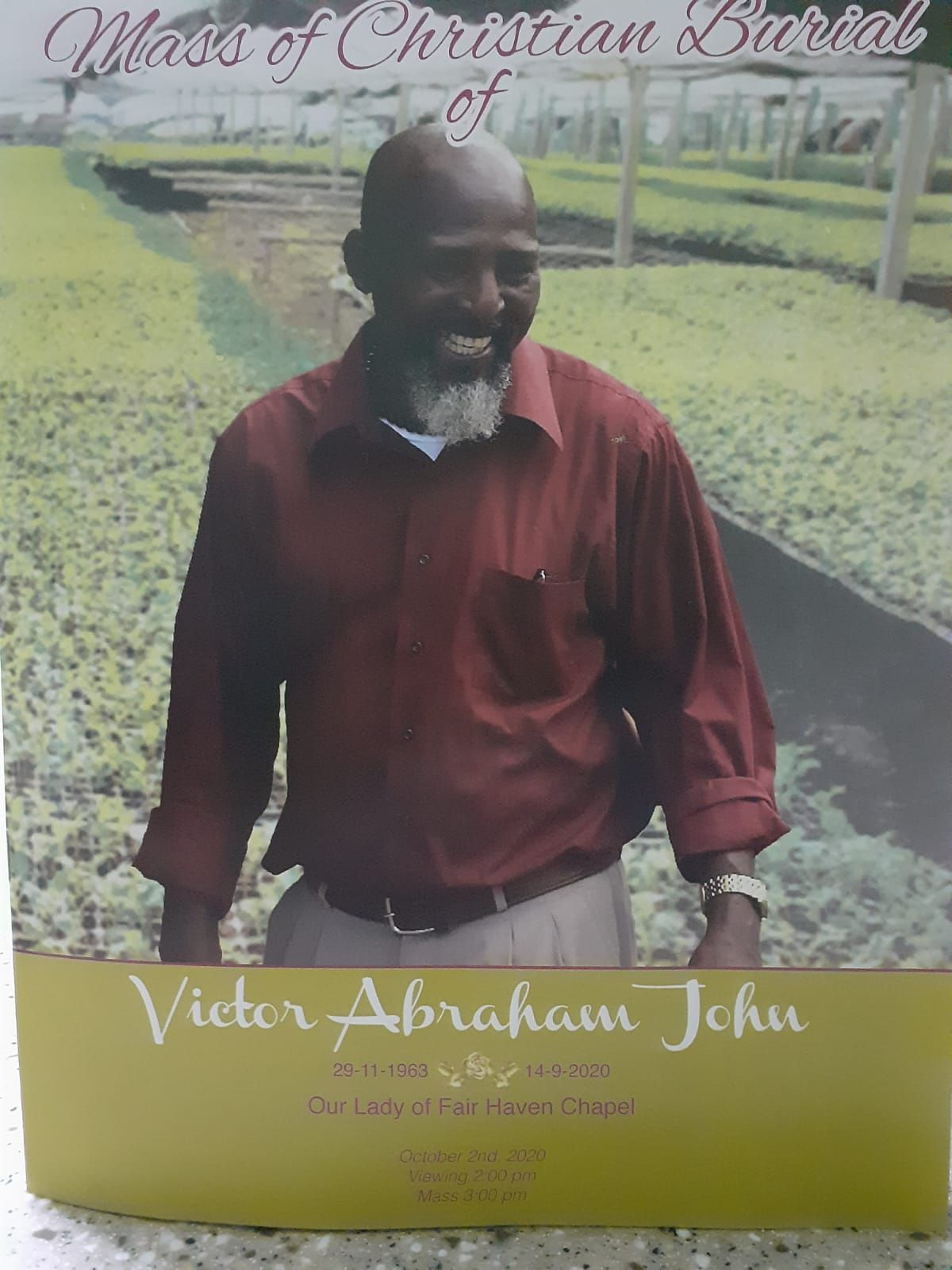 Funeral Service of Victor Abraham John, 02 October 2020