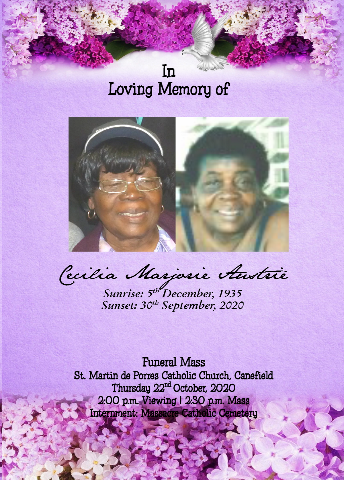 Funeral Mass of Cecilia Marjorie Austrie, 22 October 2020
