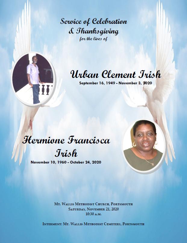 Service of Celebration of the lives of Urban Irish and Hermione Irish 21 Nov 2020