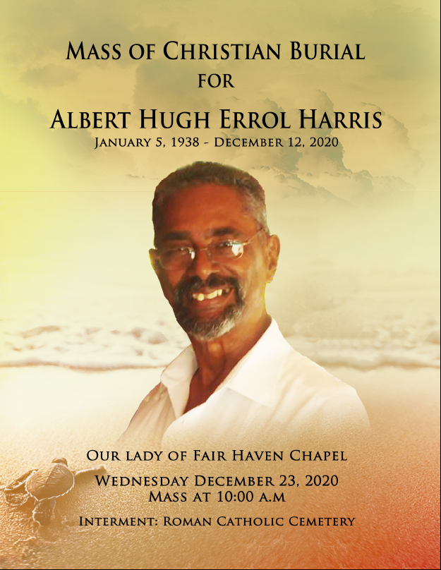 View the Mass of Christian Burial for Albert Hugh Errol Harris, 23 December 2020