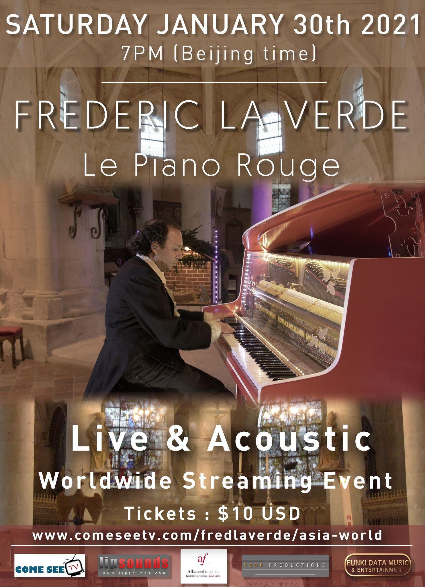 Concert / ASIE - RESTE DU MONDE / ASIA-REST OF WORLD / Frédéric La Verde et Le Piano Rouge - COMMUNIQUÉ DE PRESSE /PRESS RELEASE