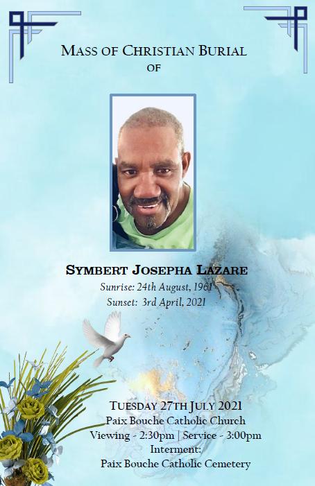 Mass of Christian Burial of Symbert Josepha Lazare, 27 July 2021