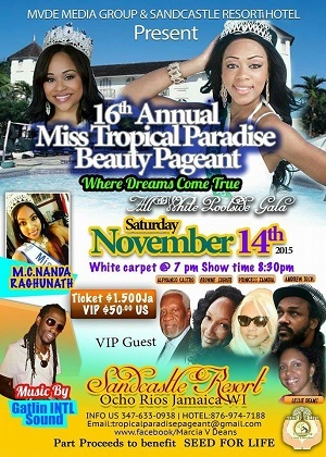'16th Annual Miss Tropical Paradise Beauty Pageant Nov 14th 2015'